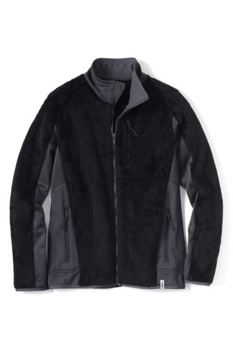 Lands End Polartec High-Pile Fleece Men's Jacket (Black / Navy)