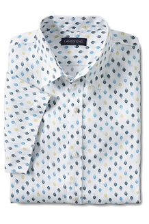 Men's Short Sleeve Printed Linen Shirt