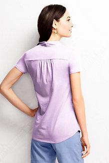 Le T-shirt Léger en Coton Modal Col en V à manches courtes Femme