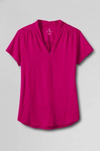 Gerafftes Jersey-Shirt mit V-Ausschnitt
