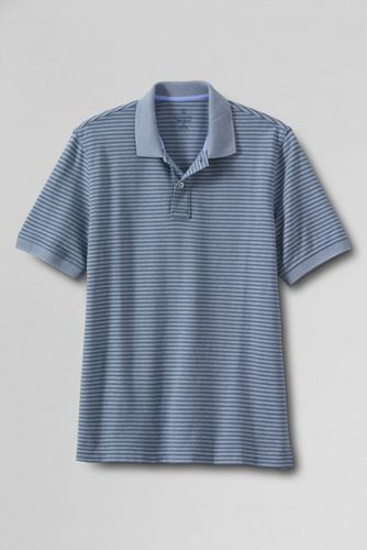 Men's Regular Original Short Sleeve Piqué Oxford Stripe Polo Shirt