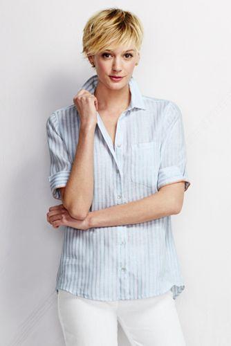 Gestreifte Leinen-Bluse mit kurzen Ärmeln