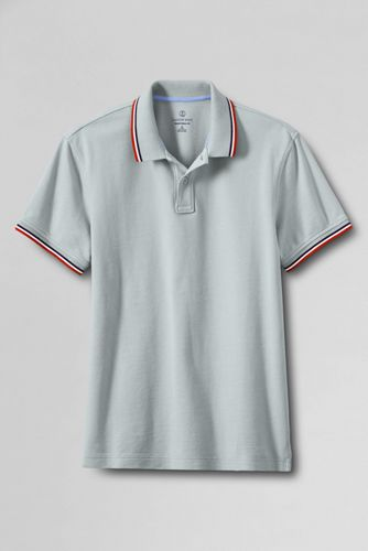 Men's Regular Slim Fit Piqué Polo with Tipped/Contrast Collar