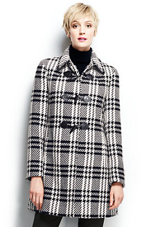 Women's Plaid Wool Blend Toggle Coat