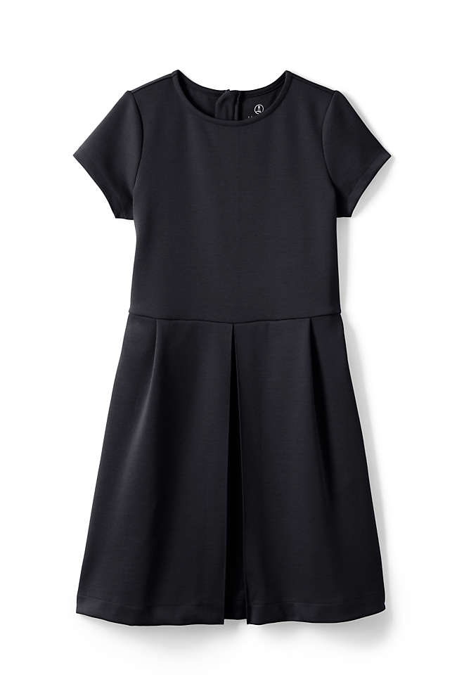 School Uniform Girls Short Sleeve Ponte Dress, Front