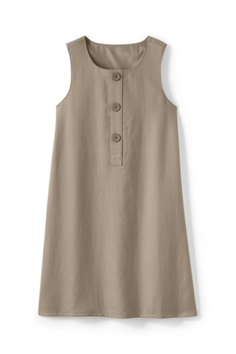 Girls' Button Front Solid A-line Jumper - Khaki