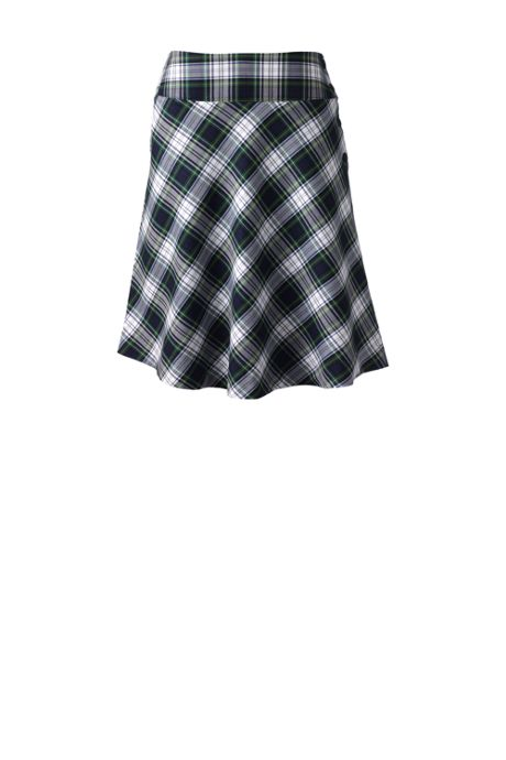 School Uniform Women's Plaid Side Button Skirt Top of Knee