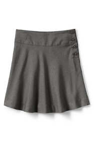 School Uniform Girls Solid Side Button Skirt Top of Knee