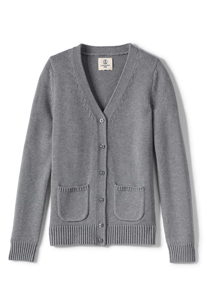 Girls Cotton Modal Button Front Cardigan Sweater, Front