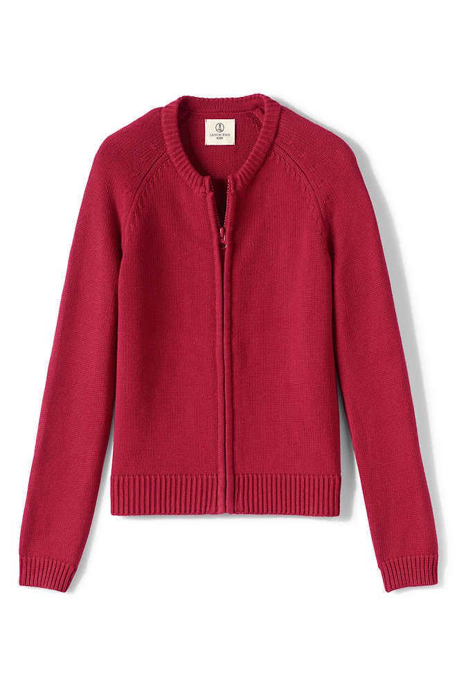 School Uniform Girls Cotton Modal Zip-front Cardigan Sweater, Front
