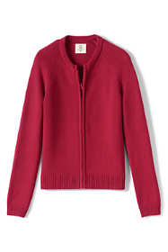 School Uniform Girls Cotton Modal Zip-front Cardigan Sweater