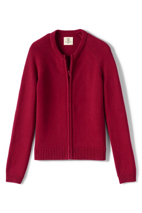 Girls Cotton Modal Zip-front Cardigan Sweater