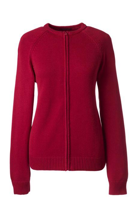 School Uniform Women's Cotton Modal Zip-front Cardigan Sweater