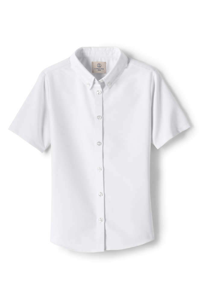 Girls Short Sleeve Oxford Dress Shirt, Front