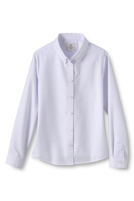 School Uniform Girls Long Sleeve Oxford Dress Shirt
