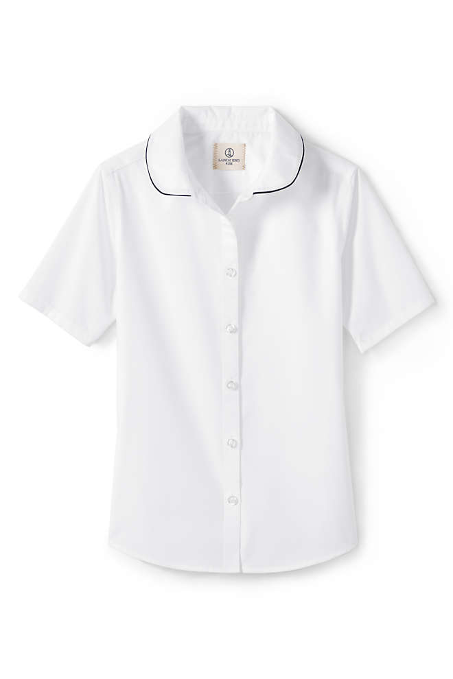 Girls Piped Peter Pan Collar Broadcloth Shirt, Front