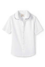 Girls Piped Peter Pan Collar Broadcloth Shirt