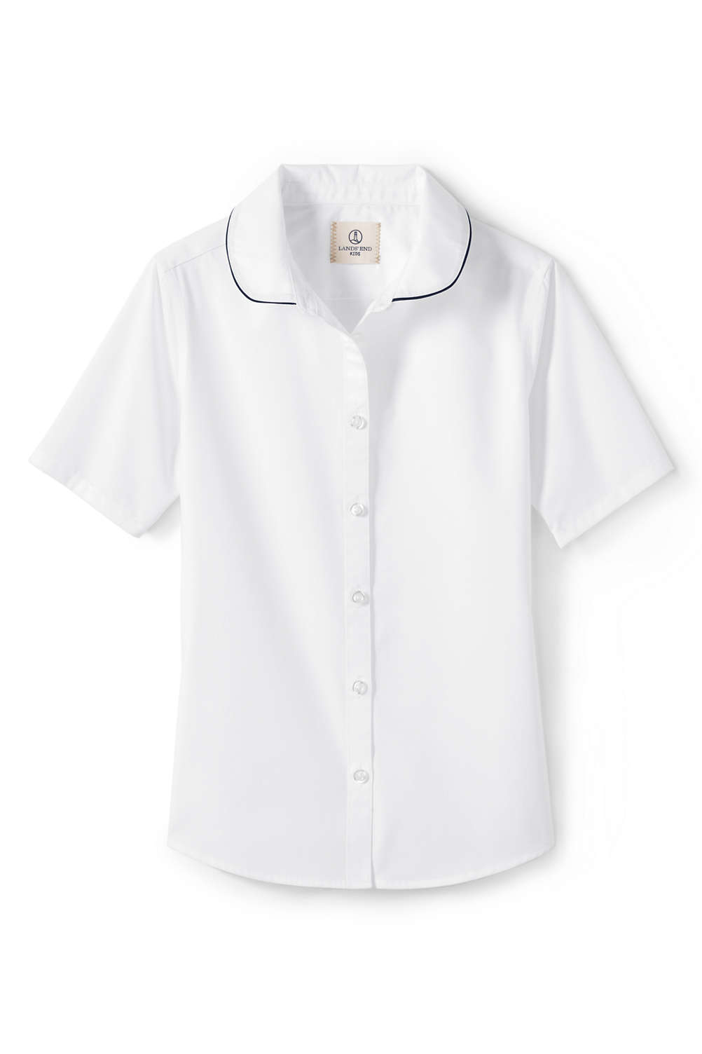 2250adc95e38 School Uniform Girls Short Sleeve Piped Collar Shirt from Lands  End