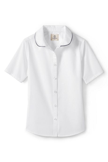 School Uniform Little Girls Piped Peter Pan Collar Broadcloth Shirt