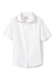 School Uniform Little Girls Short Sleeve Piped Collar Shirt