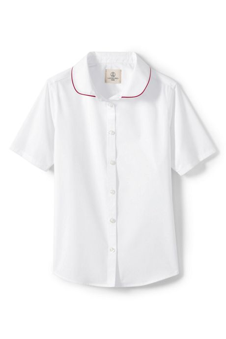 School Uniform Girls Piped Peter Pan Collar Broadcloth Shirt