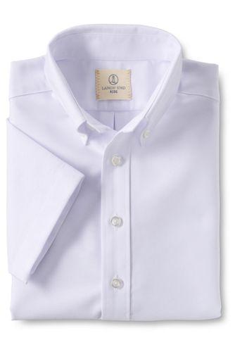 <ランズエンド> ボーイズ・オックスフォード・シャツ/半袖/120/ホワイト