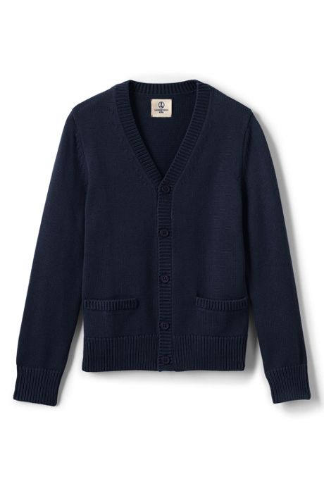 School Uniform Little Boys Boys Cotton Modal Button Front Cardigan Sweater