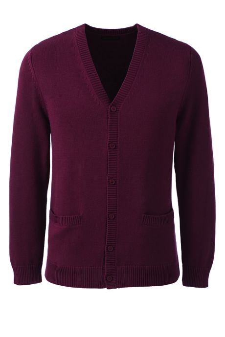 School Uniform Men's Cotton Modal Button Front Cardigan Sweater