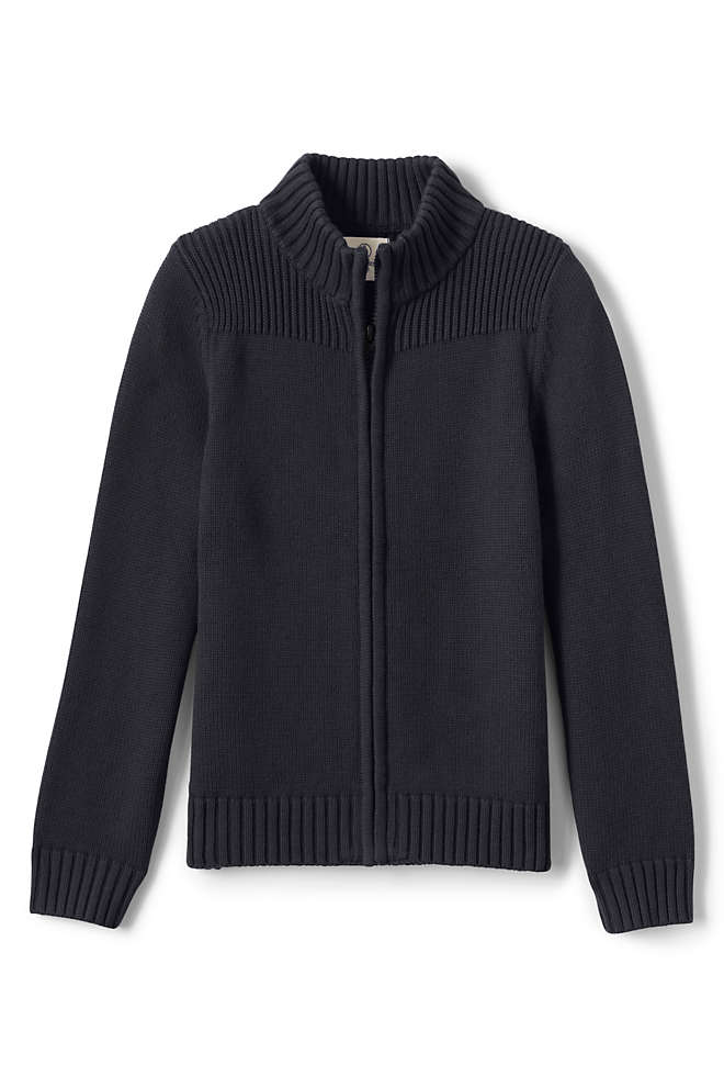 School Uniform Boys Cotton Modal Zip Front Cardigan Sweater, Front
