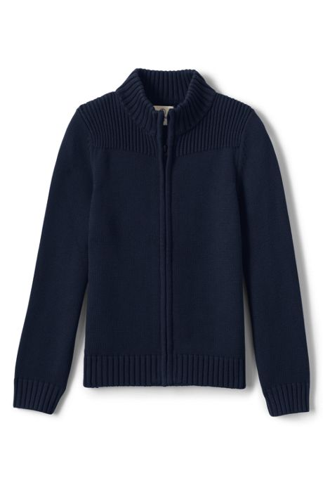 Boys Cotton Modal Zip Front Cardigan Sweater