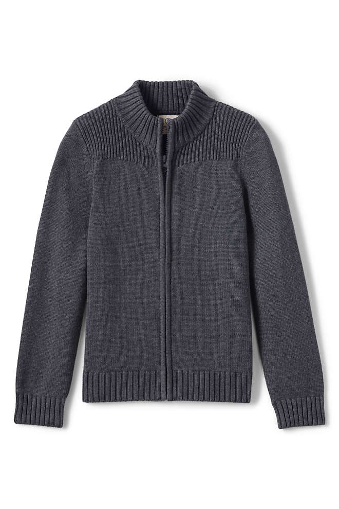 Boys Cotton Modal Zip Front Cardigan Sweater, Front