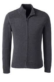 School Uniform Men's Cotton Modal Zip Front Cardigan Sweater
