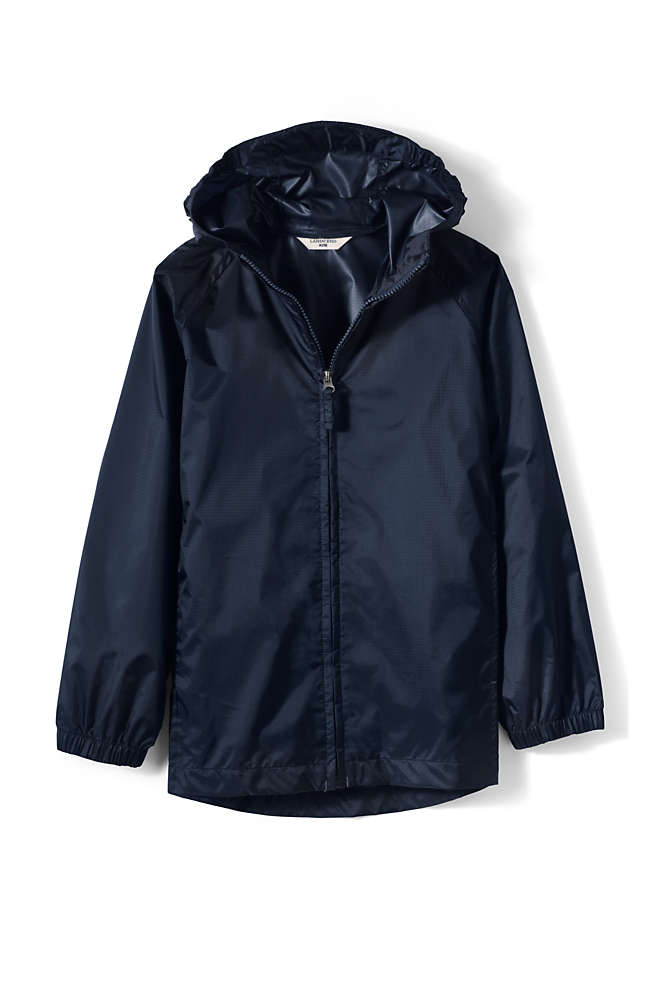 School Uniform Big Kids Packable Rain Jacket, Front