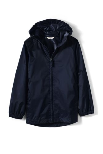 School Uniform Packable Rain Jacket from Lands' End