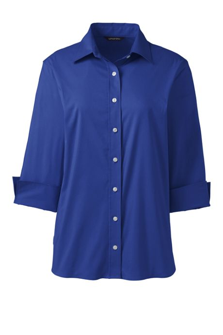 Women's 3/4 Sleeve No Gape Stretch Flip Cuff Shirt