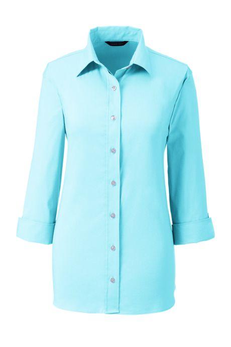 Women's Petite 3/4 Sleeve Flip Cuff Stretch Shirt