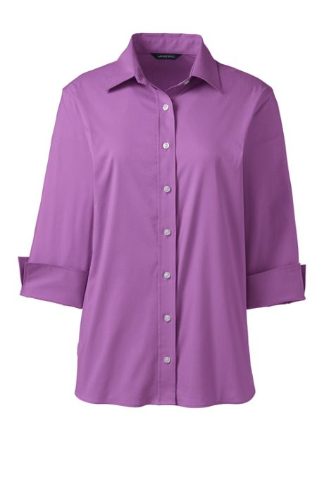 Women's Petite 3/4 Sleeve Flip Cuff Stretch Shirt