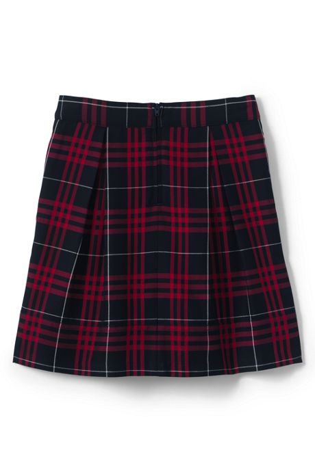 School Uniform Girls Plaid Pleated Skort Top of Knee