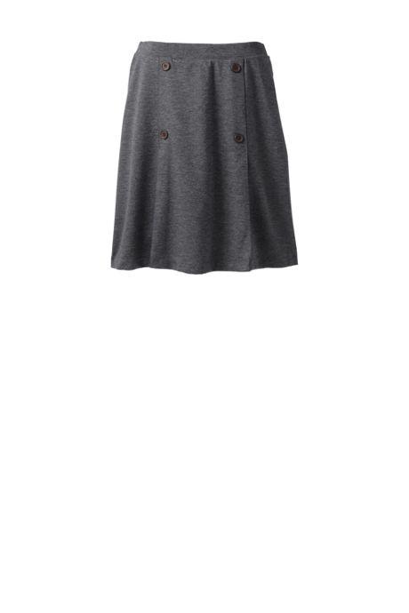 School Uniform Women's Ponte Button Front Skort