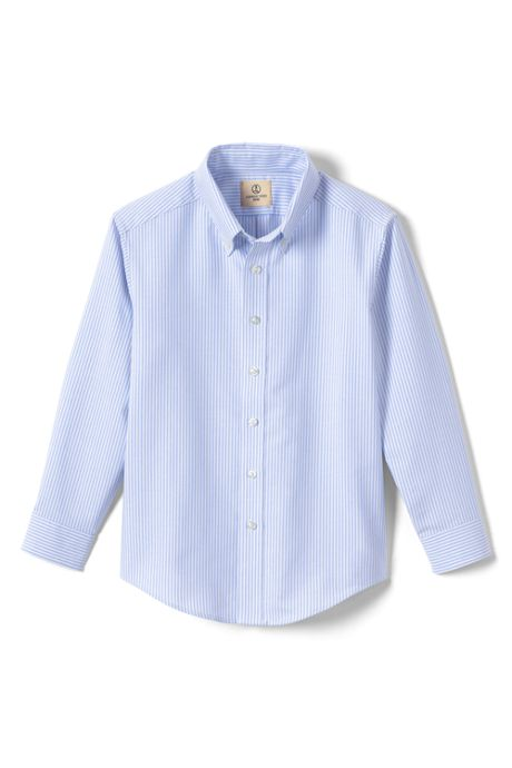 School Uniform Boys Long Sleeve Stripe Oxford Shirt
