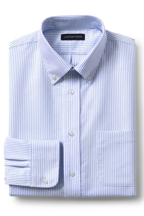 School Uniform Men's Long Sleeve Striped Oxford Dress Shirt