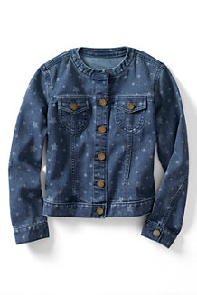 Girls' Pattern Crew Neck Denim Jacket