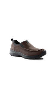 School Uniform Men's Wide Width All Weather Suede Leather Slip On Moc Shoes