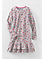 Little Girls' Long Sleeve Drop Waist Tiered Ruffle Dress