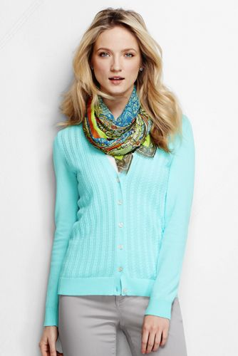 Women's Regular Pointelle V-Neck Cardigan