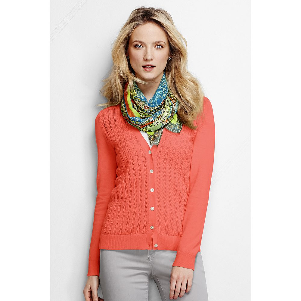 Lands' End Women's Petite Fine Gauge Cotton Mixed Stitch Cardigan