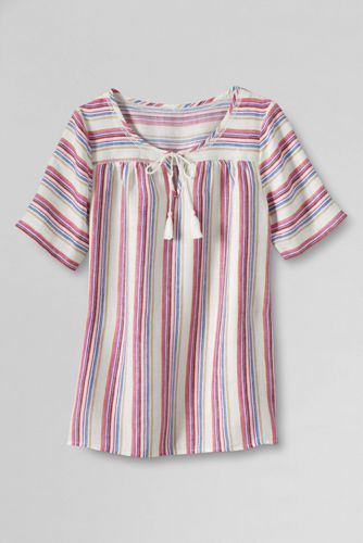 Women's Regular Notch Neck Stripe Linen Blouse
