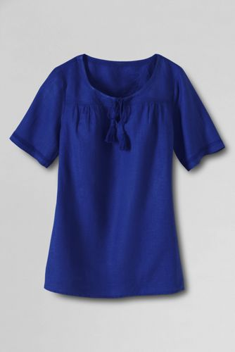 Women's Regular Notch Neck Linen Blouse