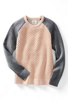 Girls' Long Sleeve Textured Colourblock Crew Neck Jumper