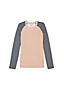 Little Girls' Long Sleeve Textured Colourblock Crew Neck Jumper